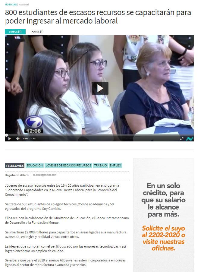 22 03 17 Teletica.com 800 estudiantes de escasos recursos se capacitar†n...